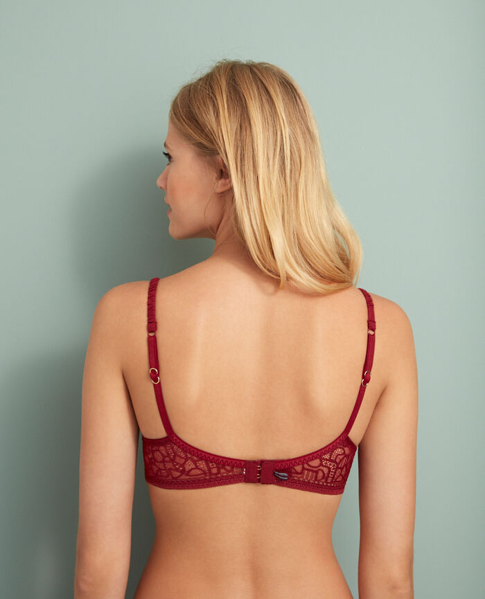 Gepolsterter Push-up-BH Leder Rot MANHATTAN
