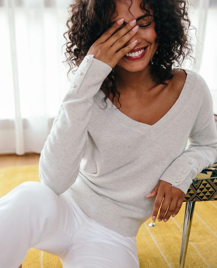 Pullover mit V-Ausschnitt Grau meliert ICONE