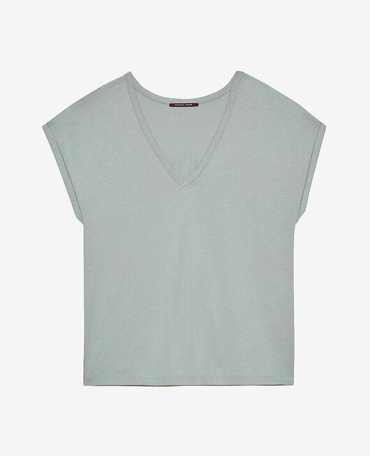 Kurzärmeliges T-Shirt mit V-Ausschnitt Mandelgrün TOP COLLECTION