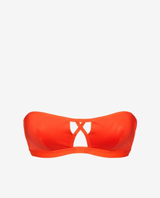 Bandeau-Bikini-Oberteil ohne Bügel Blutorange TIWIZI