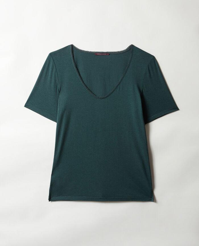 Kurzärmeliges T-Shirt mit V-Ausschnitt Nachtgrün BONNE NUIT