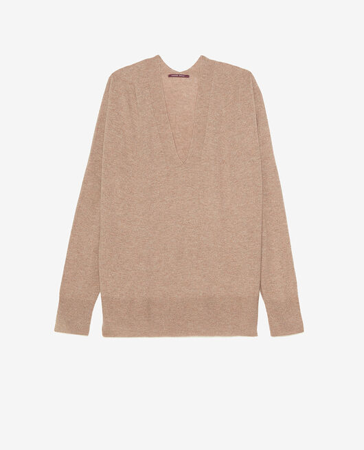 Pullover mit V-Ausschnitt Beige natürlich COSY
