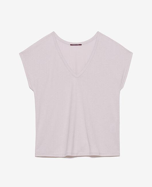 Kurzärmeliges T-Shirt mit V-Ausschnitt Lavendel TOP COLLECTION