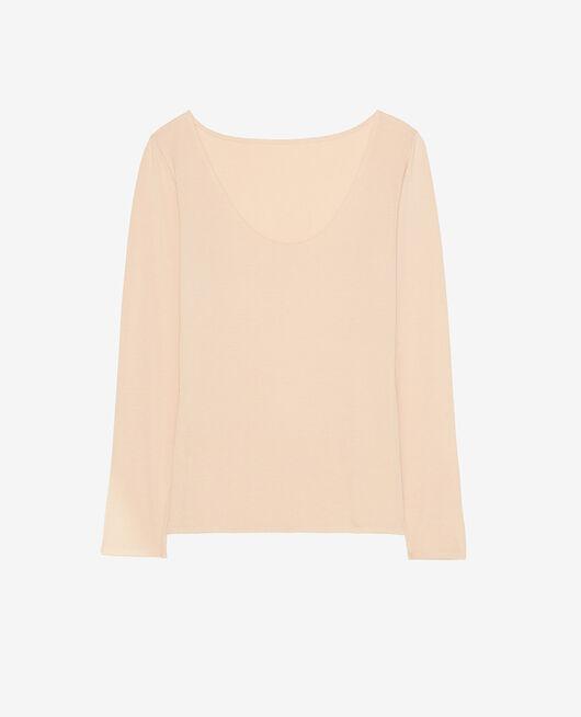 Langärmliges T-Shirt Beige Puder HEATTECH® INNERWEAR