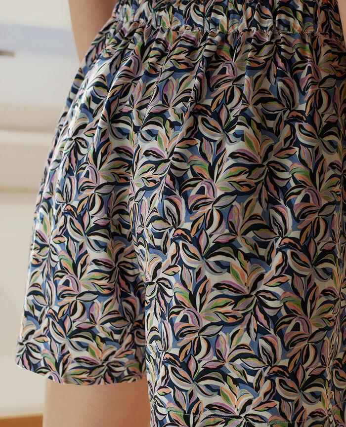 Pyjama-Shorts Pflanzen Fayenceblau FANCY VISCOSE