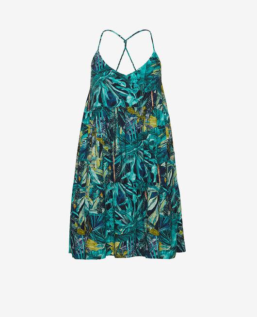 Kleid Palme blau FANCY VISCOSE