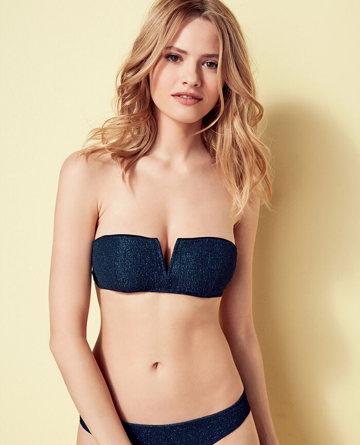 Gepolstertes Bandeau-Bikini-Oberteil ohne Bügel Heldinnenblau MOVIE