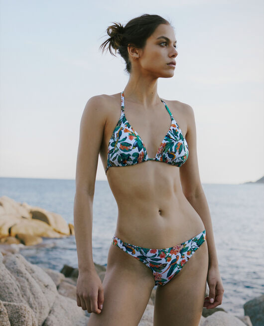 Gepolstertes Triangel-Bikini-Oberteil Papagei TWIST