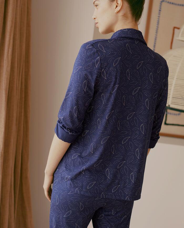 Pyjama-Jacke Kaschmir Marineblau PARESSE PRINT