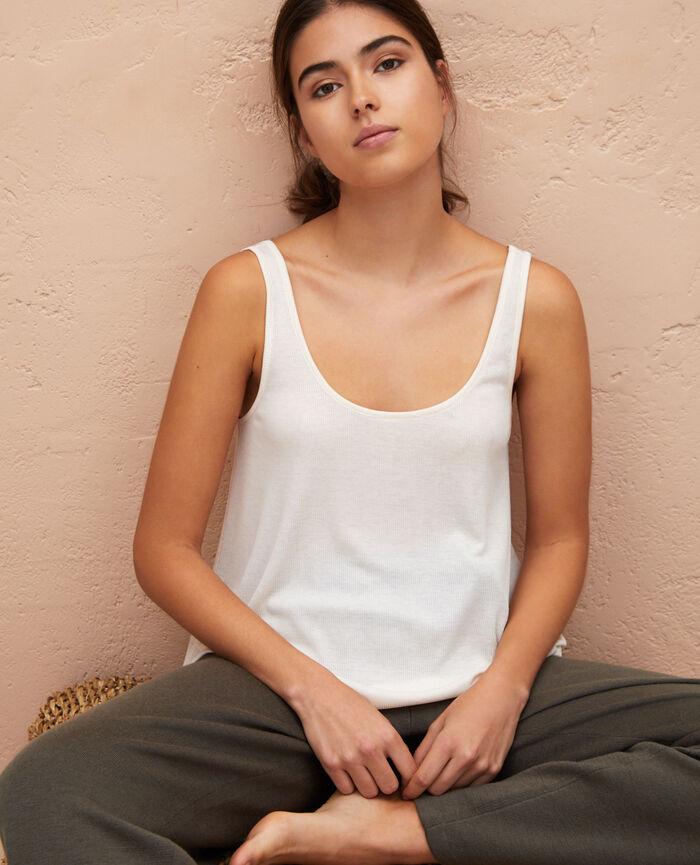Ärmelloses T-Shirt Weiß rosé LATTE RIB