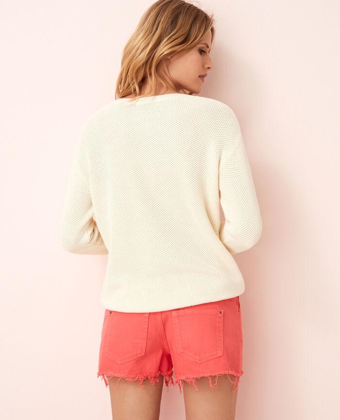 Pullover mit V-Ausschnitt Elfenbeinfarben CACHOU