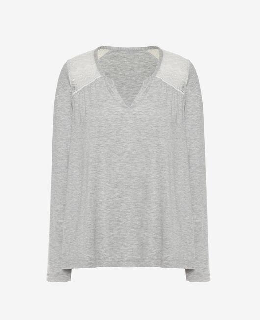 Langärmliges T-Shirt Grau meliert DOUCEUR