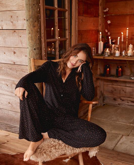 Pyjama-Jacke Stars noir DIMANCHE