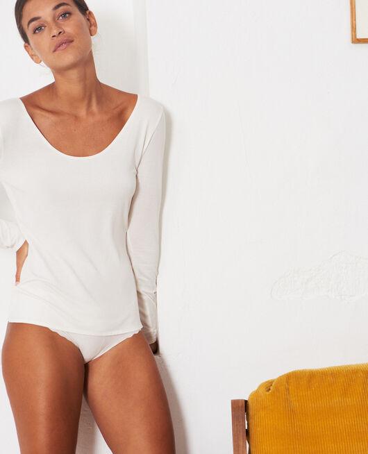 Langärmliges T-Shirt Cremeweiß HEATTECH® INNERWEAR