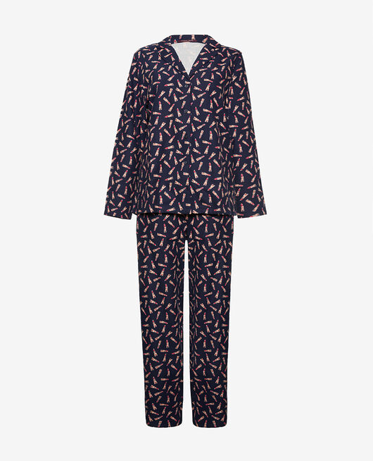 Pyjama-Set Lipstick blau FLANELLE