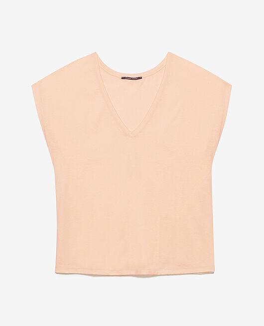 Kurzärmeliges T-Shirt mit V-Ausschnitt Pfirsichrosa TOP COLLECTION