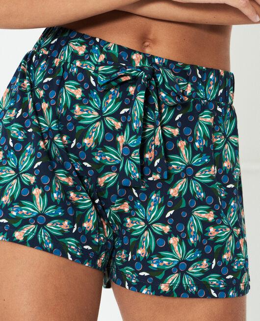 Pyjama-Shorts Blume Marineblau TAMTAM SHAKER