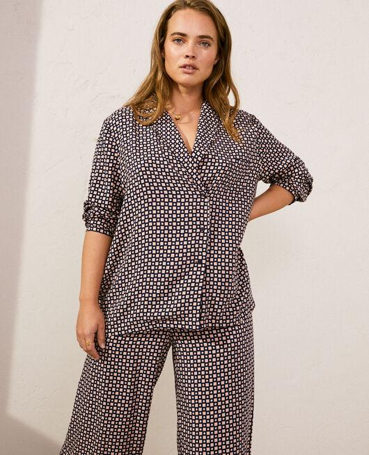 Pyjama-Jacke Kravatte marineblau PYJMANIA