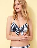 Bandeau-Bikini-Oberteil mit versteckten Bügeln Blau gestreift VOYAGE VOYAGE