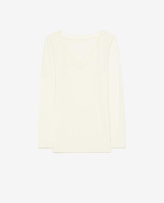 Langärmliges T-Shirt Cremeweiß EXTRA HEATTECH