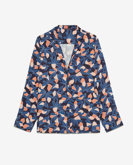 Pyjama-Jacke Aquarell Gewitterblau ATTITUDE IMPRIME