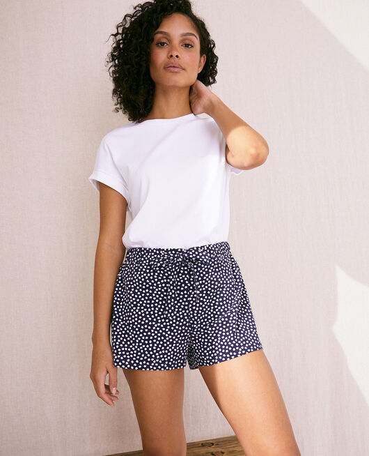Pyjama-Shorts Marineblau getupft ECHO
