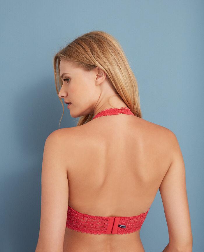 Rückenfreier Triangel-BH mit Multifunktionsträgern Rosa Blumen MONICA