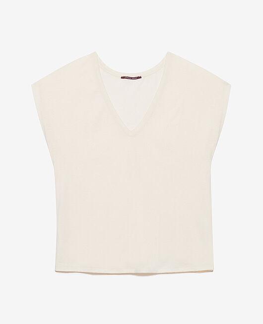 Kurzärmeliges T-Shirt mit V-Ausschnitt Weiß rosé TOP COLLECTION