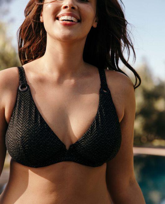 Triangel-Bikini-Oberteil mit Bügeln Schwarz LALLA