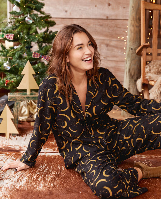 Pyjama-Set Holunder schwarz FLANELLE