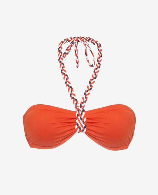 Gepolstertes Bandeau-Bikini-Oberteil ohne Bügel Mandarinenrot NATTE