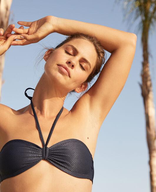 Gepolstertes Bandeau-Bikini-Oberteil ohne Bügel Nachtblau REVE
