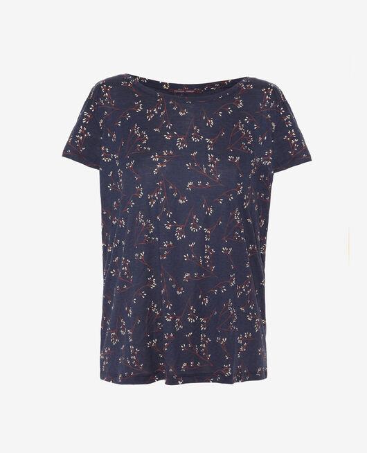 Kurzärmeliges T-Shirt mit Boots-Ausschnitt Blau Herbst LATTE
