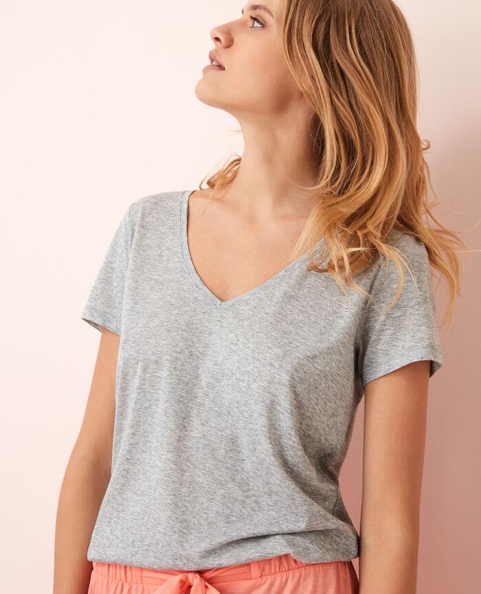 Kurzärmeliges T-Shirt mit V-Ausschnitt Grau meliert LATTE