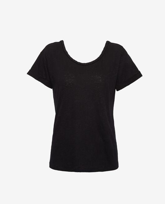 Kurzärmliges T-Shirt rückenfrei mit U-Boot-Ausschnitt Schwarz ARGAN