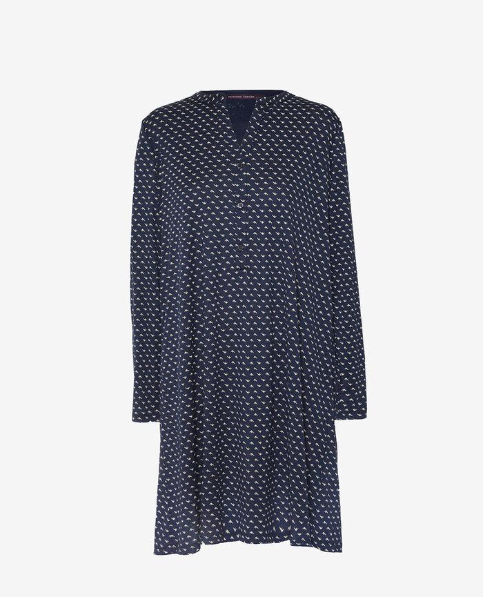 Langärmliges Nachthemd Blauer Spatz LATTE