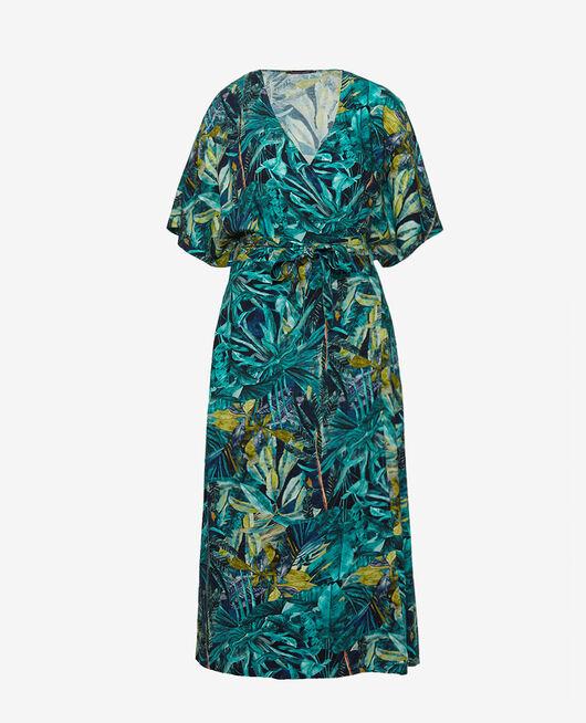 Langes Kleid Palme blau FANCY VISCOSE