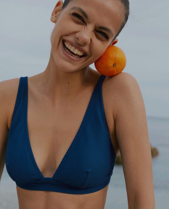Triangel-Bikini-Oberteil ohne Bügel Liegestuhlblau FARAH - THE FEEL GOOD
