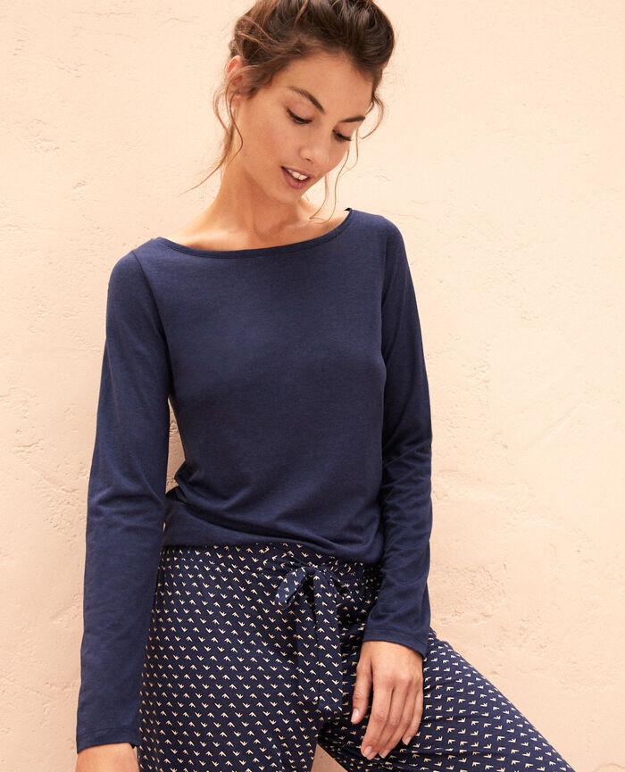 Langärmliges T-Shirt Marineblau LATTE