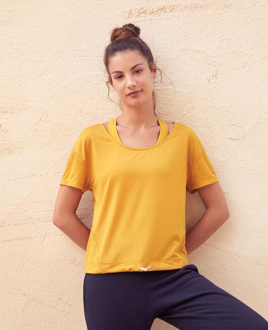 Sport-T-Shirt mit kurzen Ärmeln Gelbgold YOGA