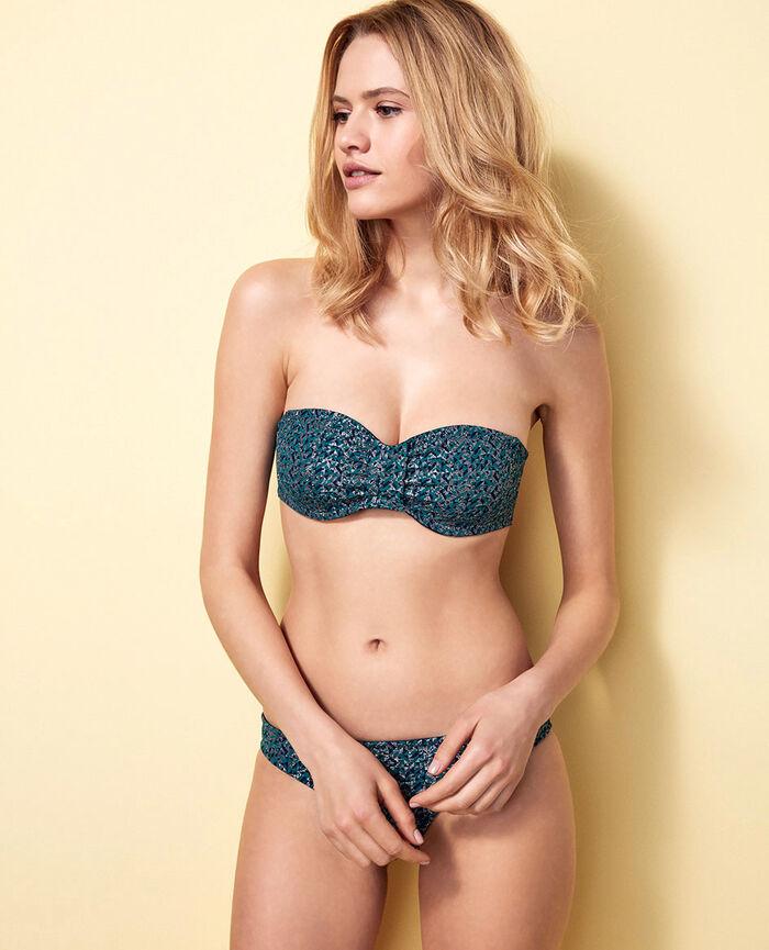 Bandeau-Bikini-Oberteil mit versteckten Bügeln Pigmentgrün STELLAR