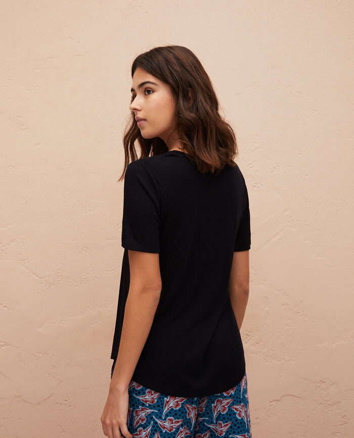 Kurzarm-T-Shirt Schwarz LATTE