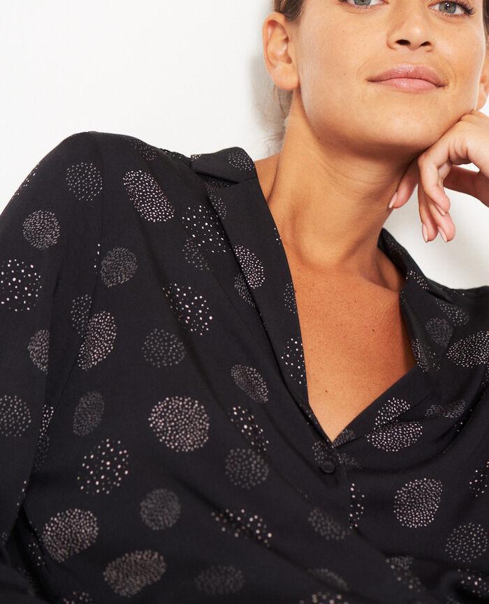 Pyjama-Jacke Relief Schwarz ATTITUDE IMPRIME