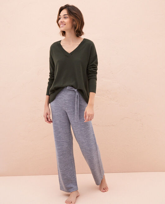 Pullover mit V-Ausschnitt Moosgrün ICONE
