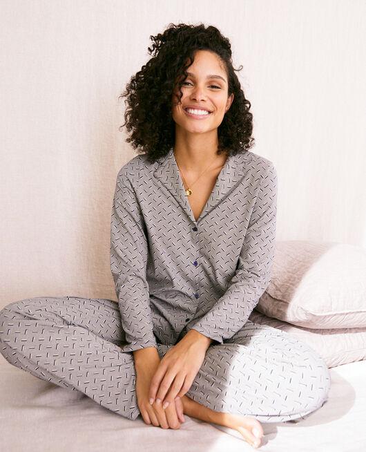 Pyjama-Jacke Susanna marineblau DIMANCHE PRINT