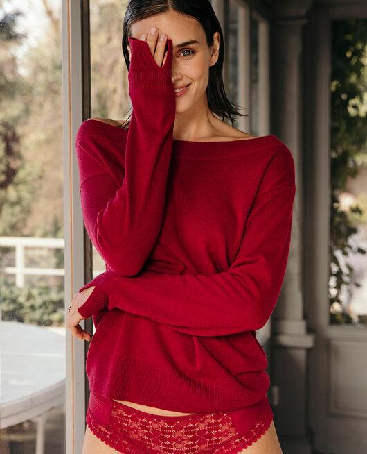 Pullover mit U-Boot-Ausschnitt Kamelia rot ICONE
