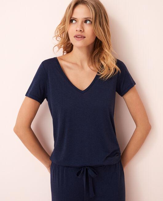 Kurzärmeliges T-Shirt mit V-Ausschnitt Marineblau LATTE