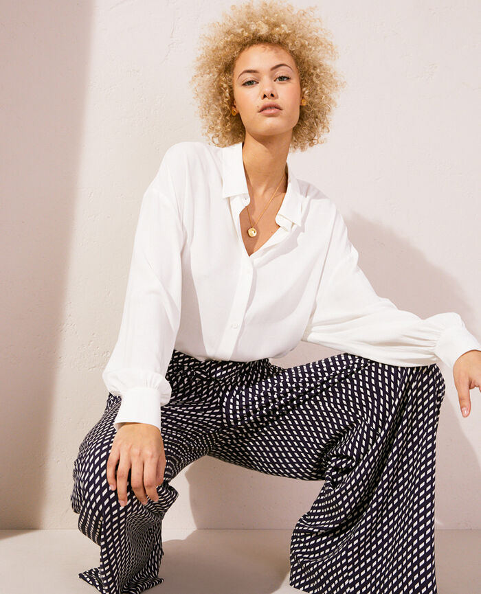 Pyjama-Jacke Elfenbeinfarben LOUNGE VISCOSE