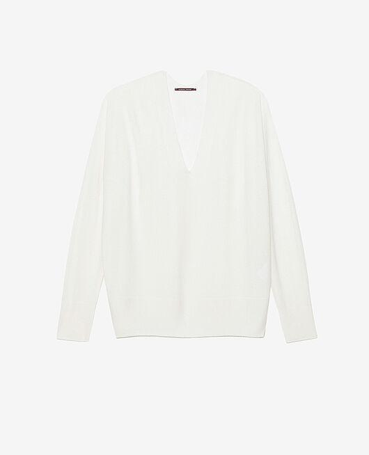 Pullover mit V-Ausschnitt Elfenbeinfarben COSY