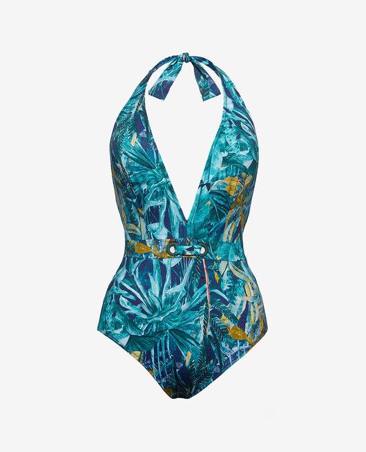 Badeanzug Neckholder Palme blau PALME